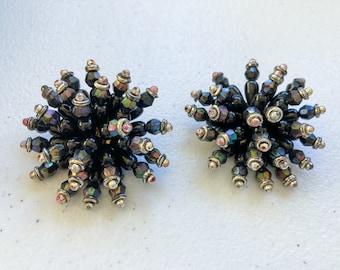 1980's Pom Pom Cluster Statement Clip Earrings
