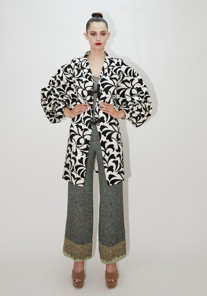 Paisley Duster Jacket with Poet Sleeves by SAKS FIFTH AVENUE image 0