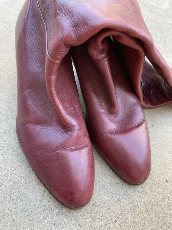 1970's Burgundy Italian Leather Boots, High Boots… - image 6