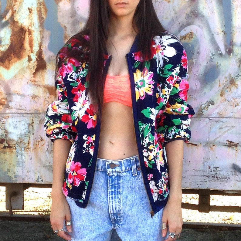 Reversible Quilted Bomber Jacket Colorful Patchwork & Floral image 0