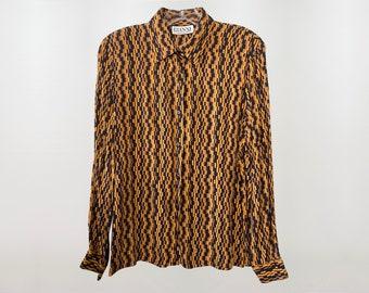 GIANNI 1970's Geometric Tile Blouse, Button Down Dress Shirt, small