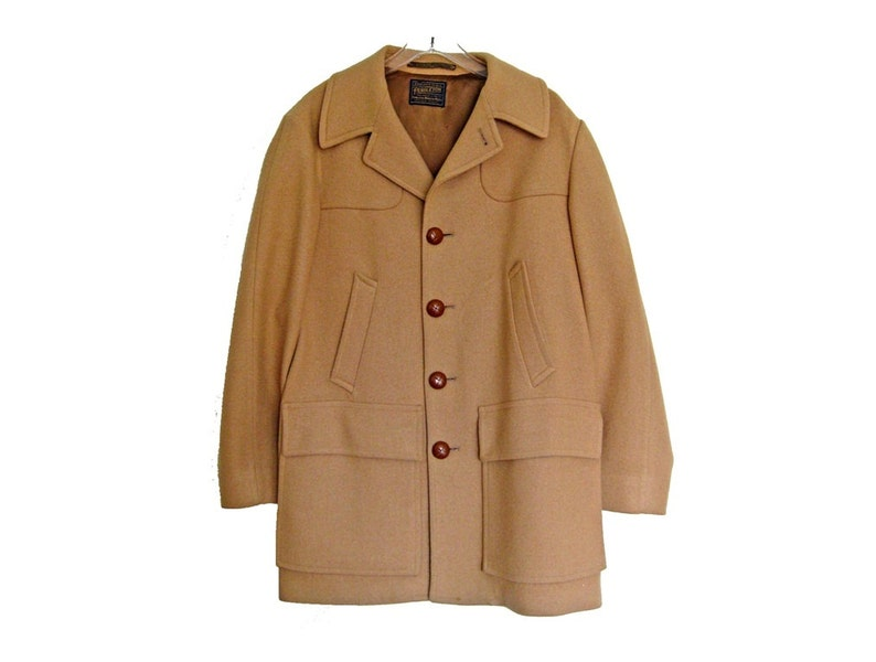 Men's Vintage PENDLETON Car Coat Camel Beige Wool image 0