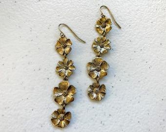 1990's Tiered Flower Strand Dangle Pierced Earrings