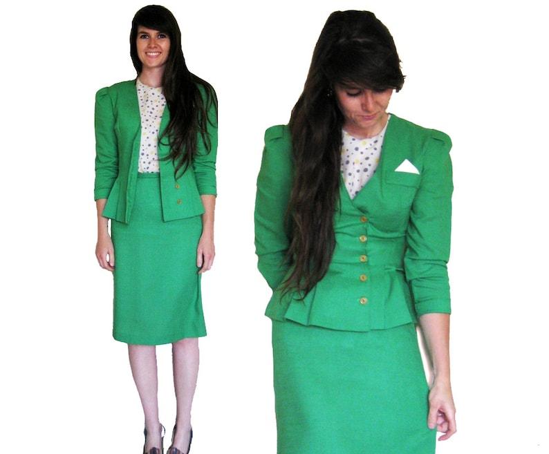High Waist Skirt Suit Kelly Green 2 Piece 1940's Aline image 0