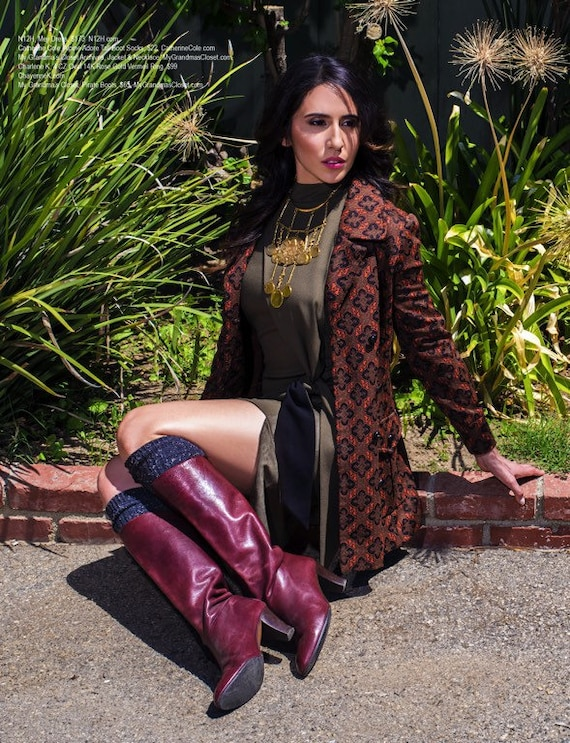 1970's Burgundy Italian Leather Boots, High Boots… - image 3