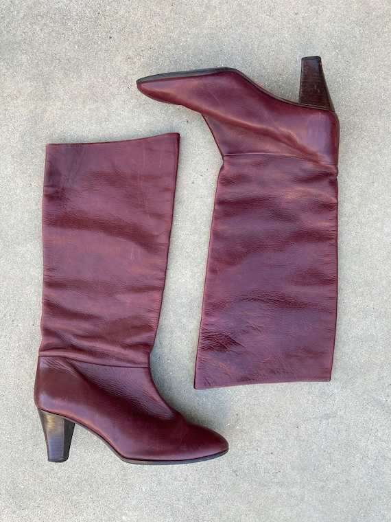 1970's Burgundy Italian Leather Boots, High Boots… - image 4