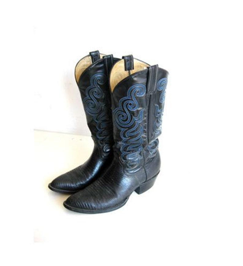 SALE Black Leather Cowboy Boots Men's Vintage 8.5 image 0