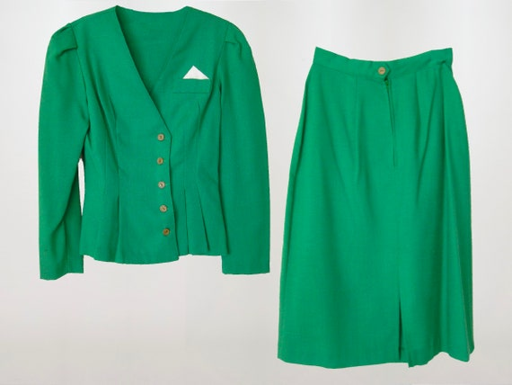 1940's High Waist Skirt Suit, Kelly Green 2 Piece