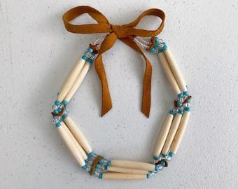 Native Indigenous Bone Hairpipe Choker, Triple Strand Tube Beads with Suede Leather Ties