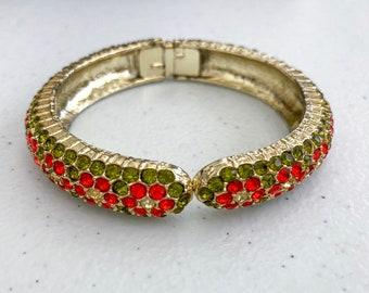 1980's Pave Bracelet, Rhinestone Set Floral Design, Clamper Prong Hinged Bracelet