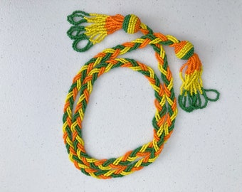 1960's Seed Beads Braided Tassel Rope Necklace