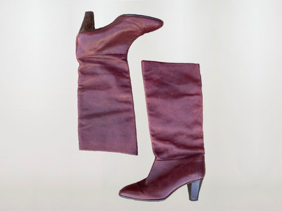 1970's Burgundy Italian Leather Boots, High Boots… - image 1
