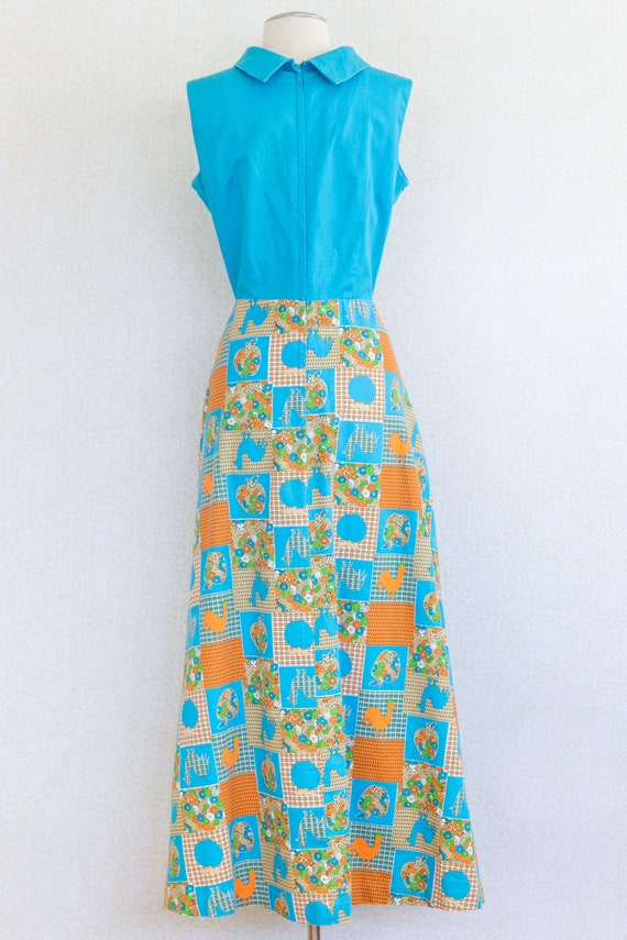 RHAPSODY 1960's Cotton Maxi Dress, Chicken Patchw… - image 5