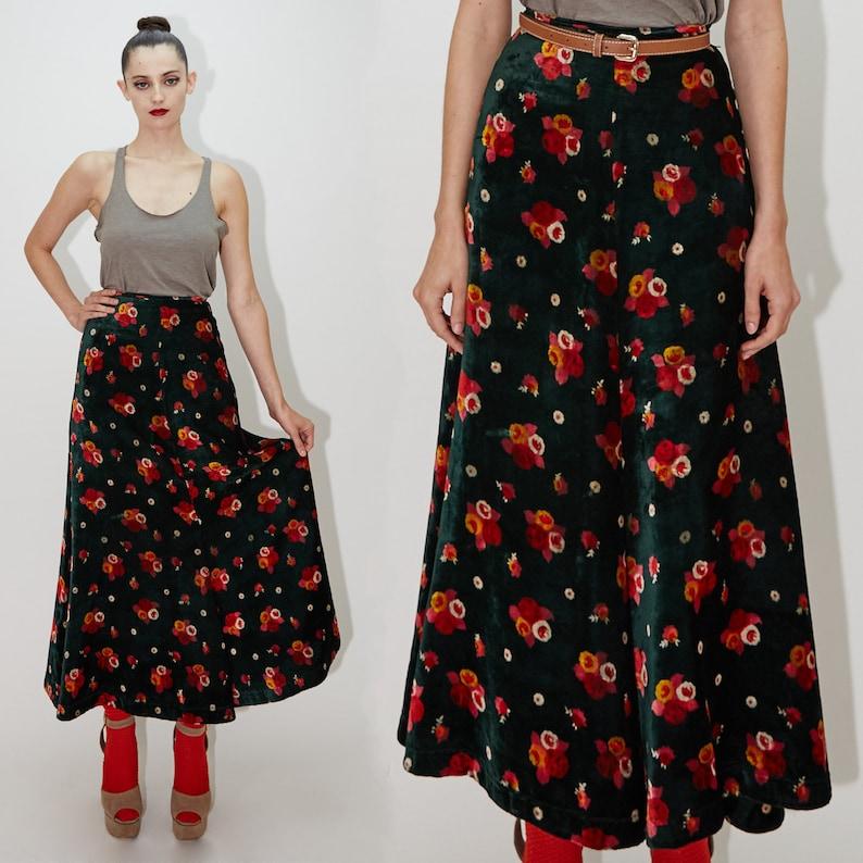 BETSEY JOHNSON Maxi Skirt Emerald Green Velvet Floral Print image 0