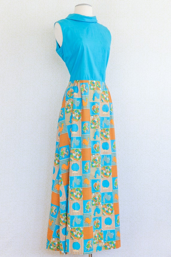 RHAPSODY 1960's Cotton Maxi Dress, Chicken Patchw… - image 4