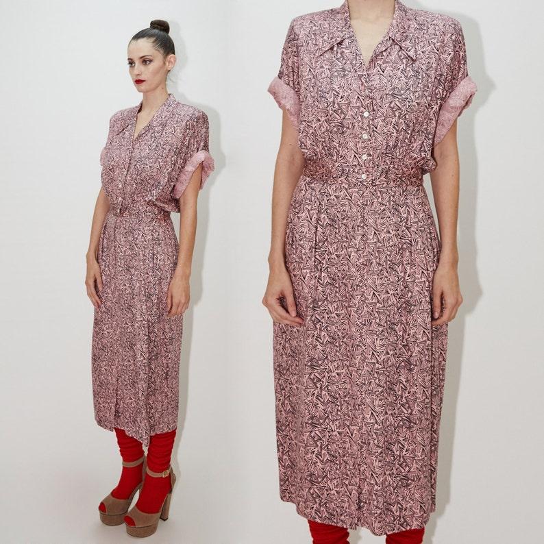 NICOLE MILLER 1980's Shirt Dress Crazy Geometric Print image 0