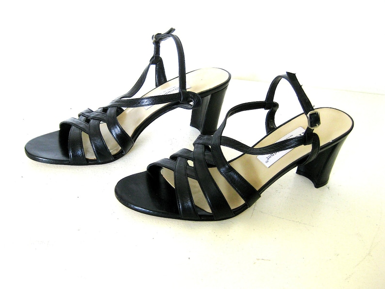 Etienne Aigner Black Leather Pumps Strappy Peep Toe Ankle image 0