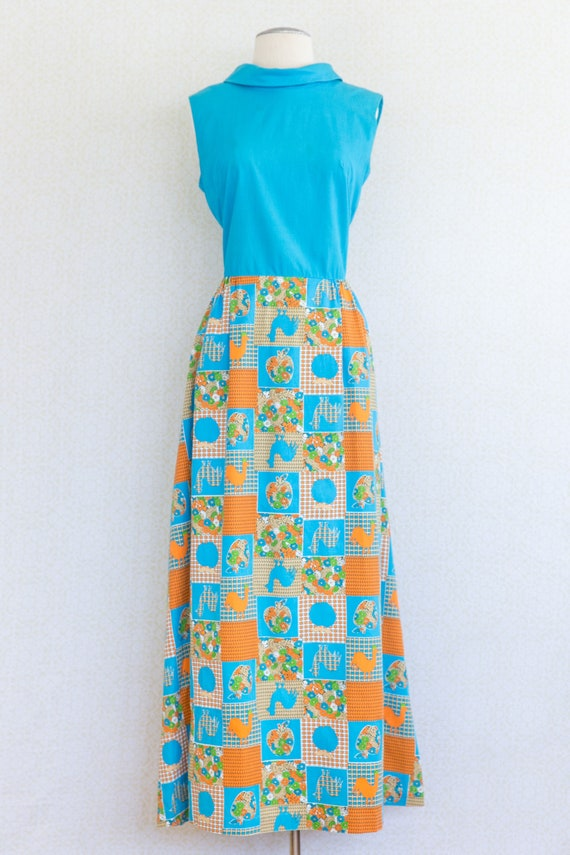 RHAPSODY 1960's Cotton Maxi Dress, Chicken Patchw… - image 3