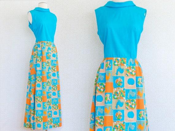 RHAPSODY 1960's Cotton Maxi Dress, Chicken Patchw… - image 1