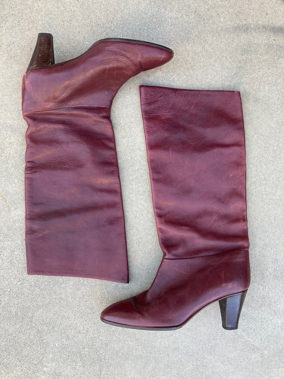 1970's Burgundy Italian Leather Boots, High Boots… - image 5