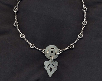 Jade Sterling Silver Twisted Link