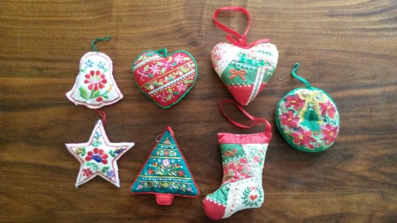 Vintage Handmade Embroidered Christmas Ornaments