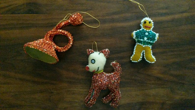 Gingerbread Man /& Trumpet Christmas Ornaments Vintage Handmade Rudolph the red nose reindeer