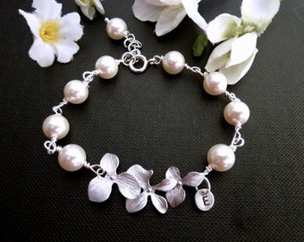 76e455453894bd White Ivory Swarovski Pearl, Triple Silver Orchids, Custom Initial Disc or  Leaf Bracelet