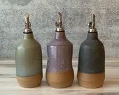 Large Ceramic oil bottle, Rustic farm house decor , olive oil bottle, Oil dispenser cruet, housewarming gift, wedding gift