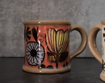 Large coffee mug, Pottery mug with flowers, 16oz mug, best friend gift