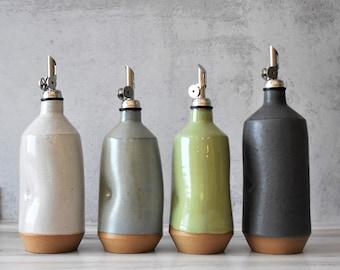 READY TO SHIP - Large Ceramic oil bottle, Rustic farm house decor , olive oil bottle, Oil dispenser cruet, housewarming gift, wedding gift