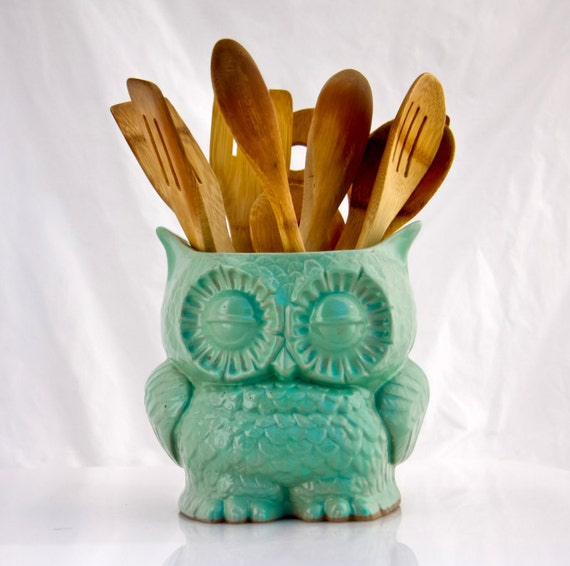 Vintage Owl Kitchen Decor: Kitchen Utensil Holder Owl Decor Cooking Gift Large