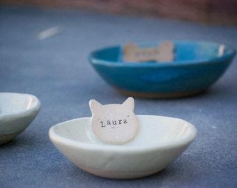 Personalized cat food bowl, cat owner gift, ceramic cat bowl, pet bowl
