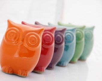 Ceramic owl decor, Handmade pottery, Nursery decor, Owl home decor, Housewarming gift, Baby room decor, Owl kitchen decor