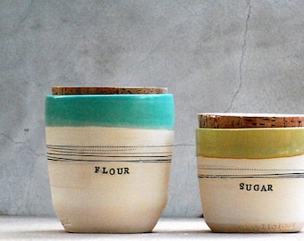 Stoneware kitchen canisters - Canister set - Kitchen storage - Housewarming gifts - Custom wedding gift - Rustic home - custom corked jar
