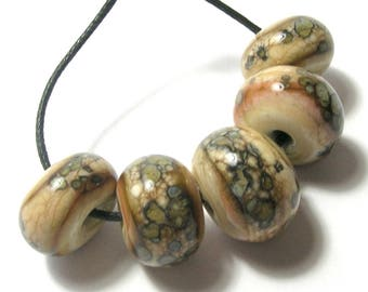 Ripples in the Sand - Handmade Lampwork Beads - Cream/Picasso Handmade Glass Beads Set (5 Beads)