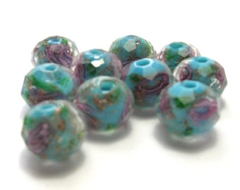 Light Blue Faceted Rondelles with Roses (10mm) - Glass Beads
