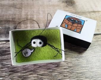 Cute needle felted tiny spider in a matchbox fun gift idea, birthdays, stocking filler, secret Santa
