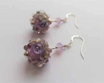 Orchids, Lilac Artisan Glass Earrings