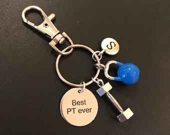 Personal trainer gift, crossfit fitness keychain gift, dumbbell kettlebell keyring, bespoke personal training fitness gift UK