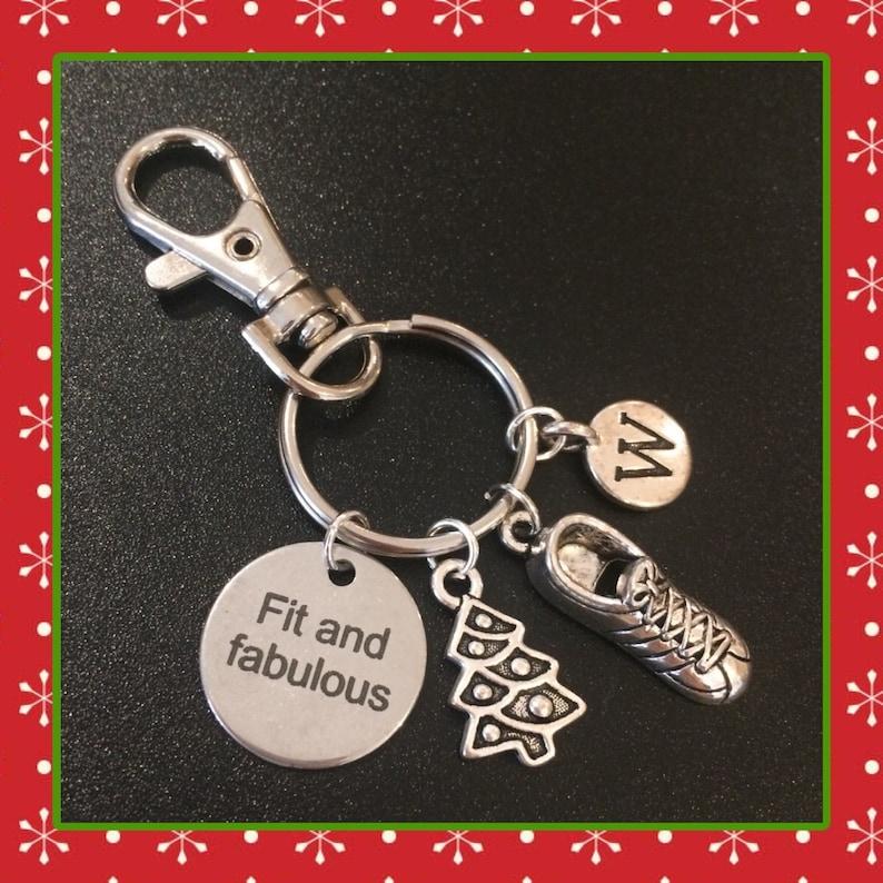 Secret santa fitness Christmas charm keyring fit and image 0