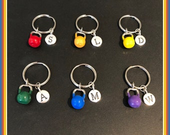 Kettlebell keyring, personalised motivational fitness gift, workout gym personal trainer gifts UK