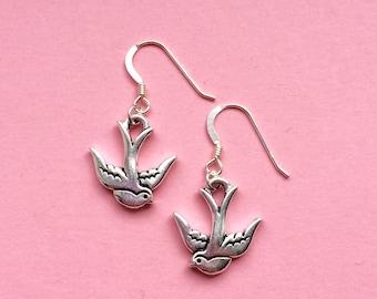 Silver swallow bird earrings, bird gift for her, gardeners gifts