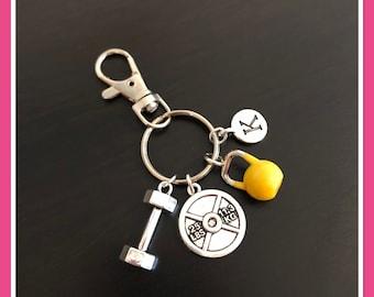 Bodybuilding gift, body builder gift idea, crossfit keychain, dumbbell kettlebell keyring, bespoke fitness gifts UK