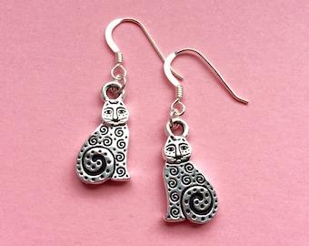 Silver cat earrings - Sterling silver earwires - dangle cat earrings - cute charm animal earrings - cat lover gift idea - UK