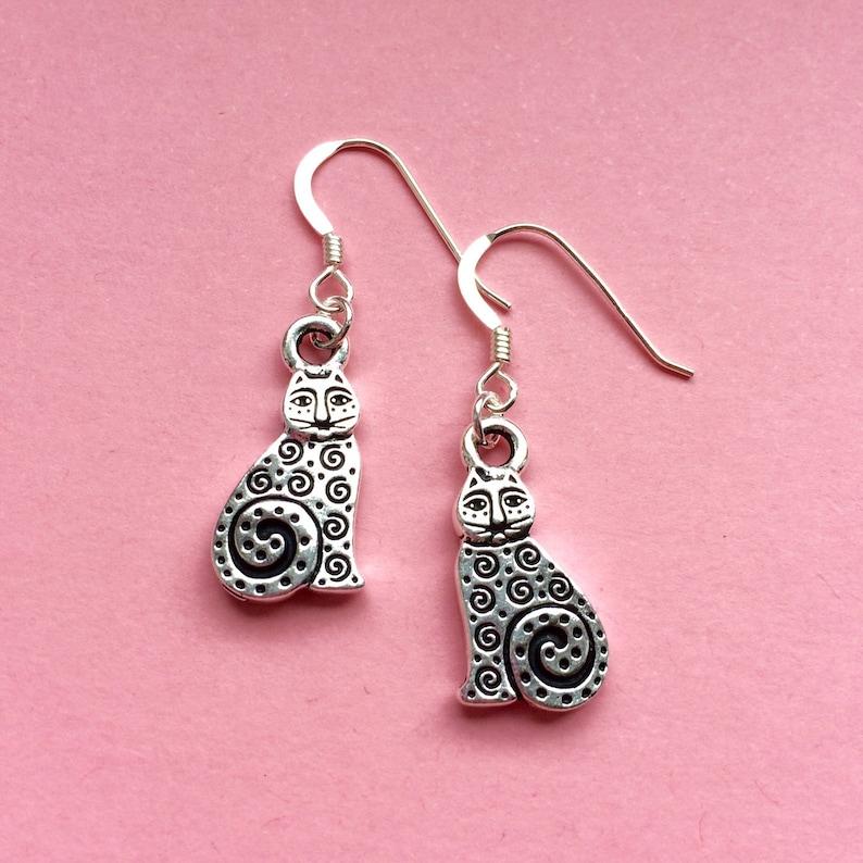 Mothers day gift uk dangle earrings Silver cat earrings cat jewellery cat lover gift
