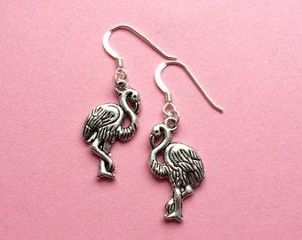 Flamingo earrings, flamingo jewelry, valentine mothers day gift tropical beach earrings, animal earrings, summer trend, sterling silver, UK