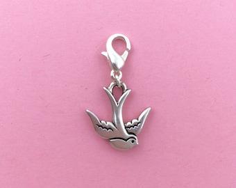 Bird bracelet charm, animal charm jewellery, birds gift for her