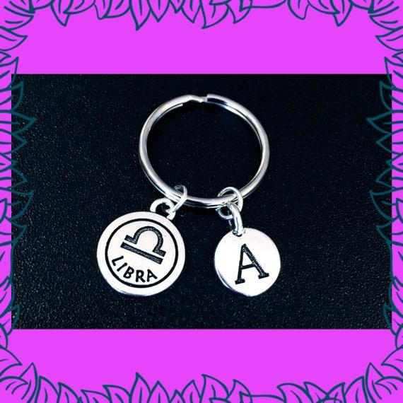 Libra Zodiac Keyring September October Birthday Gift Idea