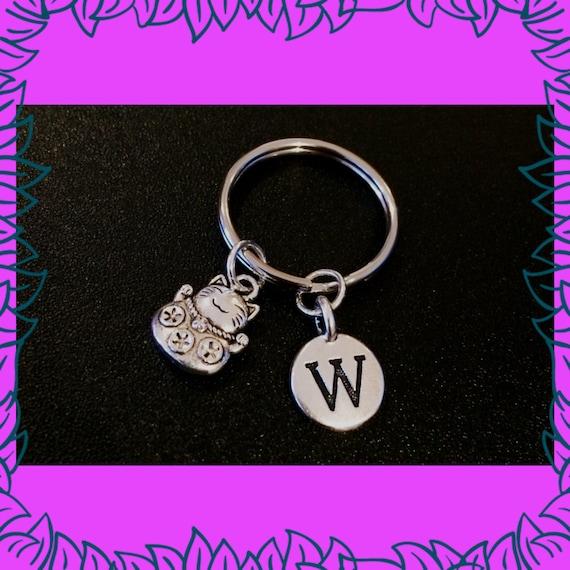 Cadeau d'amant de VENTE chat, chat porte-clés, personnalisé initial porte-clé, cadeau de chat porte-bonheur personnalisé Maneki Neko fortune, personne chat, Dame de chat